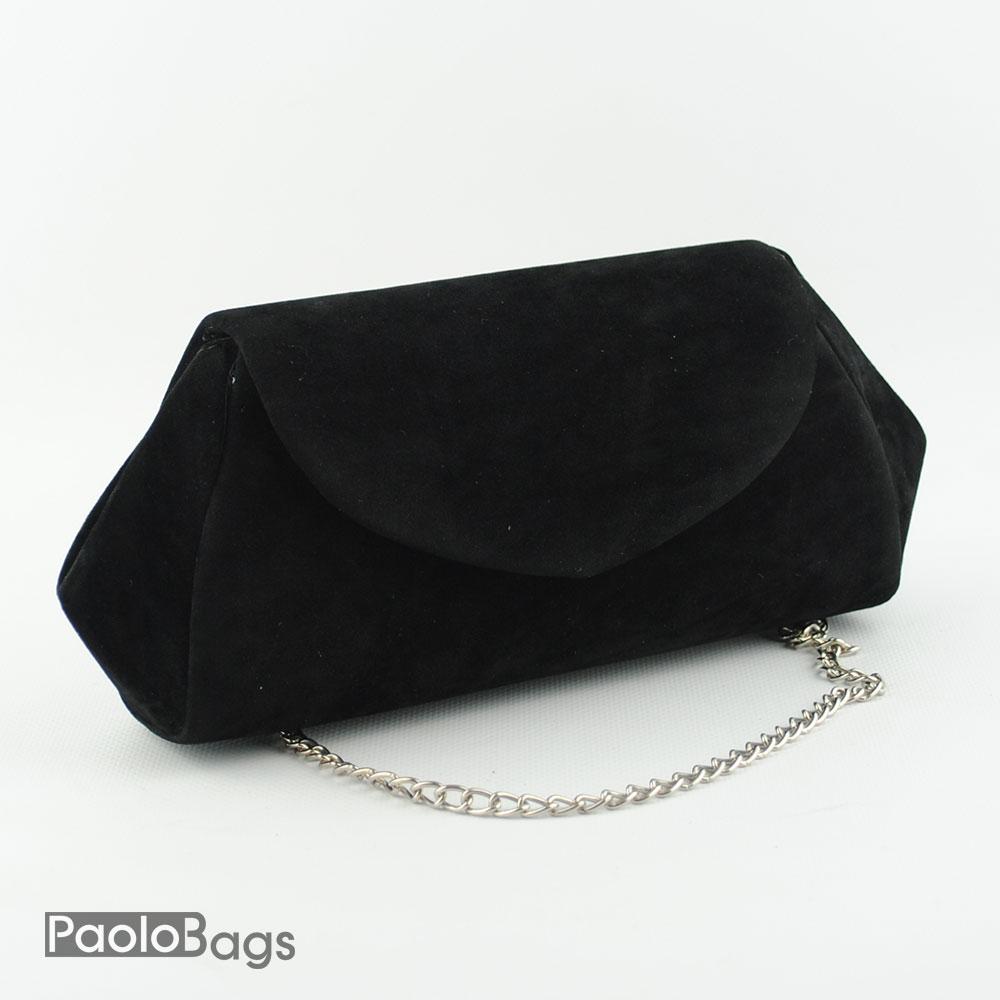 a77026d6761 Официална вечерна дамска чанта клъч класически модел изчистена черен велурен